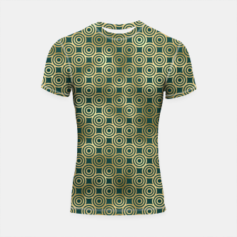 Miniatur Teal and Gold Vintage Circles Pattern Shortsleeve rashguard, Live Heroes