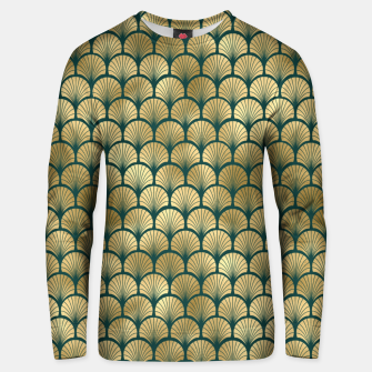 Thumbnail image of Teal and Gold Vintage Art Deco Fan Palms Pattern Unisex sweater, Live Heroes