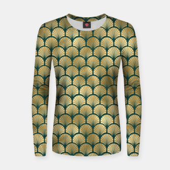 Thumbnail image of Teal and Gold Vintage Art Deco Fan Palms Pattern Women sweater, Live Heroes