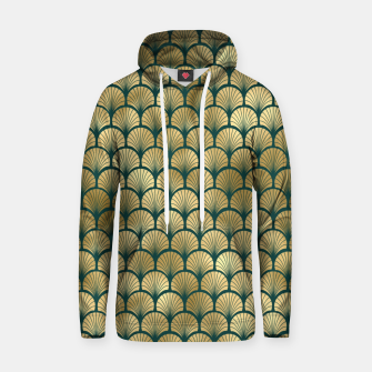 Thumbnail image of Teal and Gold Vintage Art Deco Fan Palms Pattern Hoodie, Live Heroes