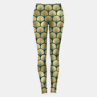 Thumbnail image of Teal and Gold Vintage Art Deco Fan Palms Pattern Leggings, Live Heroes