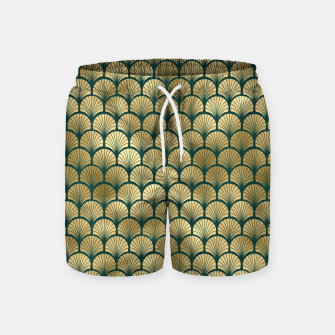 Thumbnail image of Teal and Gold Vintage Art Deco Fan Palms Pattern Swim Shorts, Live Heroes