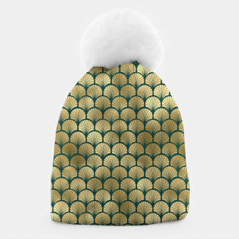 Thumbnail image of Teal and Gold Vintage Art Deco Fan Palms Pattern Beanie, Live Heroes