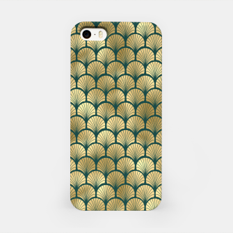 Thumbnail image of Teal and Gold Vintage Art Deco Fan Palms Pattern iPhone Case, Live Heroes