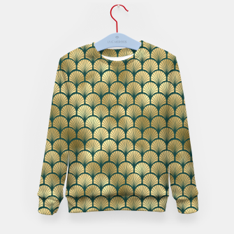 Thumbnail image of Teal and Gold Vintage Art Deco Fan Palms Pattern Kid's sweater, Live Heroes