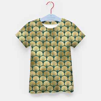 Thumbnail image of Teal and Gold Vintage Art Deco Fan Palms Pattern Kid's t-shirt, Live Heroes