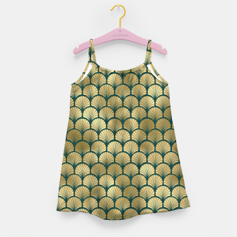 Thumbnail image of Teal and Gold Vintage Art Deco Fan Palms Pattern Girl's dress, Live Heroes