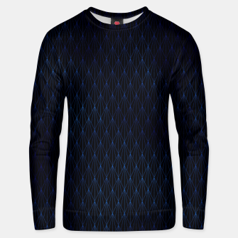 Black and Classic Blue Foil Vintage Fan Art Deco Pattern Unisex sweater obraz miniatury