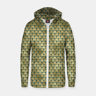 Thumbnail image of Teal and Gold Vintage Art Deco Fan Palms Pattern Zip up hoodie, Live Heroes