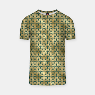Thumbnail image of Teal and Gold Vintage Art Deco Fan Palms Pattern T-shirt, Live Heroes