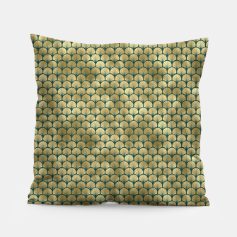 Thumbnail image of Teal and Gold Vintage Art Deco Fan Palms Pattern Pillow, Live Heroes