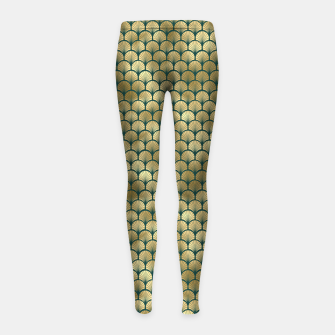 Thumbnail image of Teal and Gold Vintage Art Deco Fan Palms Pattern Girl's leggings, Live Heroes
