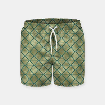 Thumbnail image of Teal and Gold Vintage Art Deco Lined Diamonds Pattern Swim Shorts, Live Heroes