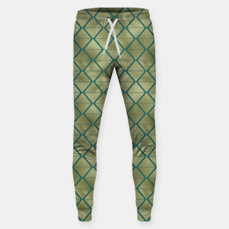 Thumbnail image of Teal and Gold Vintage Art Deco Lined Diamonds Pattern Sweatpants, Live Heroes