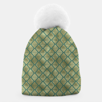 Thumbnail image of Teal and Gold Vintage Art Deco Lined Diamonds Pattern Beanie, Live Heroes