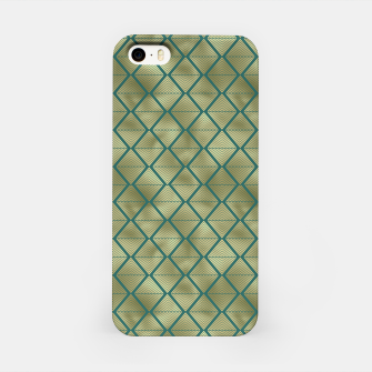 Thumbnail image of Teal and Gold Vintage Art Deco Lined Diamonds Pattern iPhone Case, Live Heroes
