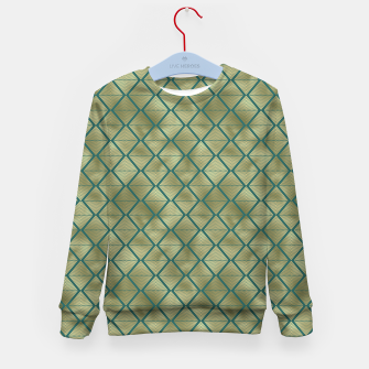Thumbnail image of Teal and Gold Vintage Art Deco Lined Diamonds Pattern Kid's sweater, Live Heroes