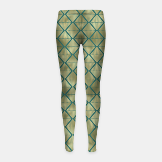 Thumbnail image of Teal and Gold Vintage Art Deco Lined Diamonds Pattern Girl's leggings, Live Heroes