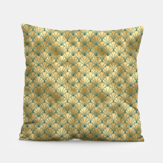 Thumbnail image of Teal and Gold Vintage Art Deco Scallop Shell Pattern Pillow, Live Heroes