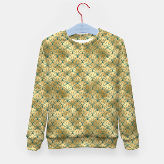 Thumbnail image of Teal and Gold Vintage Art Deco Scallop Shell Pattern Kid's sweater, Live Heroes