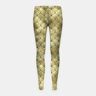 Thumbnail image of Teal and Gold Vintage Art Deco Scallop Shell Pattern Girl's leggings, Live Heroes