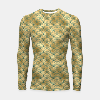 Thumbnail image of Teal and Gold Vintage Art Deco Scallop Shell Pattern Longsleeve rashguard , Live Heroes