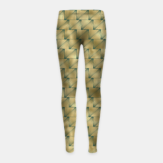 Thumbnail image of Teal and Gold Vintage Art Deco Lined Diamond Pattern Girl's leggings, Live Heroes