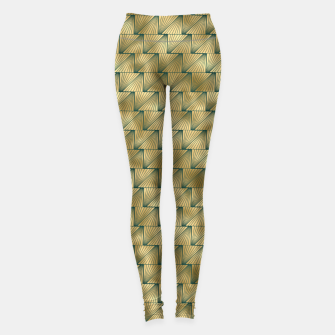 Thumbnail image of Teal and Gold Vintage Art Deco Lined Diamond Pattern Leggings, Live Heroes