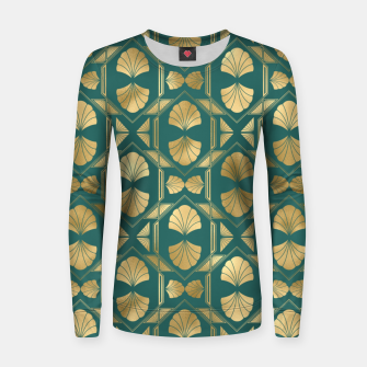 Thumbnail image of Teal and Gold Vintage Art Deco Scallop Shell Pattern Women sweater, Live Heroes