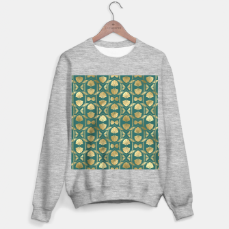 Thumbnail image of Teal and Gold Vintage Art Deco Scallop Shell Pattern Sweater regular, Live Heroes