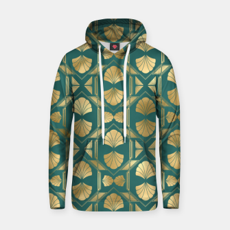 Thumbnail image of Teal and Gold Vintage Art Deco Scallop Shell Pattern Hoodie, Live Heroes