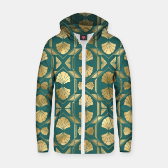Thumbnail image of Teal and Gold Vintage Art Deco Scallop Shell Pattern Zip up hoodie, Live Heroes
