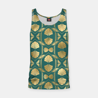 Thumbnail image of Teal and Gold Vintage Art Deco Scallop Shell Pattern Tank Top, Live Heroes