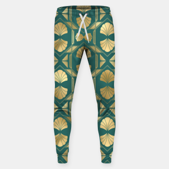 Thumbnail image of Teal and Gold Vintage Art Deco Scallop Shell Pattern Sweatpants, Live Heroes