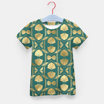 Thumbnail image of Teal and Gold Vintage Art Deco Scallop Shell Pattern Kid's t-shirt, Live Heroes