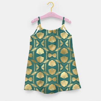 Thumbnail image of Teal and Gold Vintage Art Deco Scallop Shell Pattern Girl's dress, Live Heroes