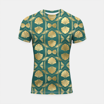 Thumbnail image of Teal and Gold Vintage Art Deco Scallop Shell Pattern Shortsleeve rashguard, Live Heroes
