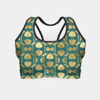 Thumbnail image of Teal and Gold Vintage Art Deco Scallop Shell Pattern Crop Top, Live Heroes