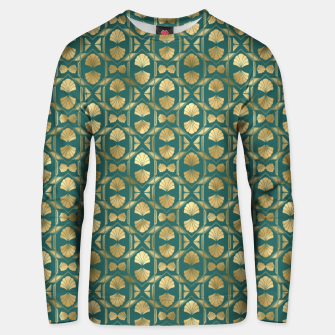 Thumbnail image of Teal and Gold Vintage Art Deco Scallop Shell Pattern Unisex sweater, Live Heroes
