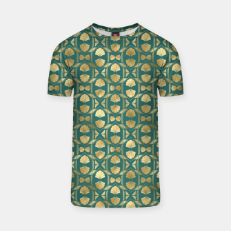 Thumbnail image of Teal and Gold Vintage Art Deco Scallop Shell Pattern T-shirt, Live Heroes