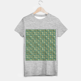 Thumbnail image of Teal and Gold Vintage Art Deco Scallop Shell Pattern T-shirt regular, Live Heroes