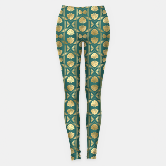 Thumbnail image of Teal and Gold Vintage Art Deco Scallop Shell Pattern Leggings, Live Heroes
