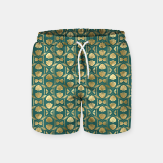Thumbnail image of Teal and Gold Vintage Art Deco Scallop Shell Pattern Swim Shorts, Live Heroes