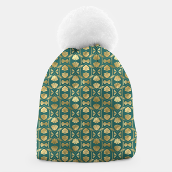 Thumbnail image of Teal and Gold Vintage Art Deco Scallop Shell Pattern Beanie, Live Heroes