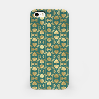 Thumbnail image of Teal and Gold Vintage Art Deco Scallop Shell Pattern iPhone Case, Live Heroes