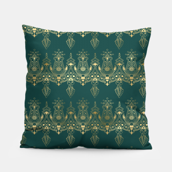 Miniatur Teal and Gold Vintage Art Deco Damask Border Pattern Pillow, Live Heroes