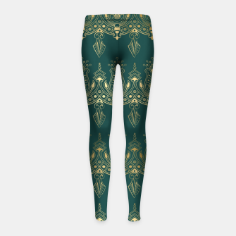 Miniatur Teal and Gold Vintage Art Deco Damask Border Pattern Girl's leggings, Live Heroes
