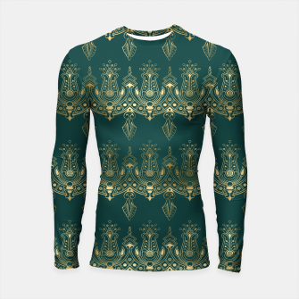 Miniatur Teal and Gold Vintage Art Deco Damask Border Pattern Longsleeve rashguard , Live Heroes