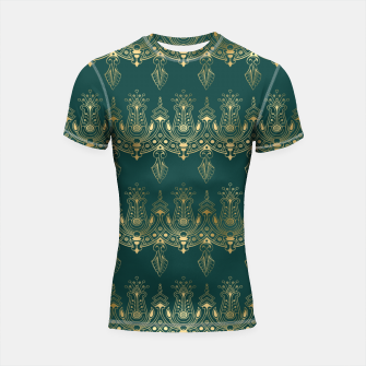 Miniatur Teal and Gold Vintage Art Deco Damask Border Pattern Shortsleeve rashguard, Live Heroes