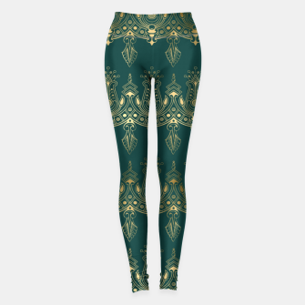Miniatur Teal and Gold Vintage Art Deco Damask Border Pattern Leggings, Live Heroes